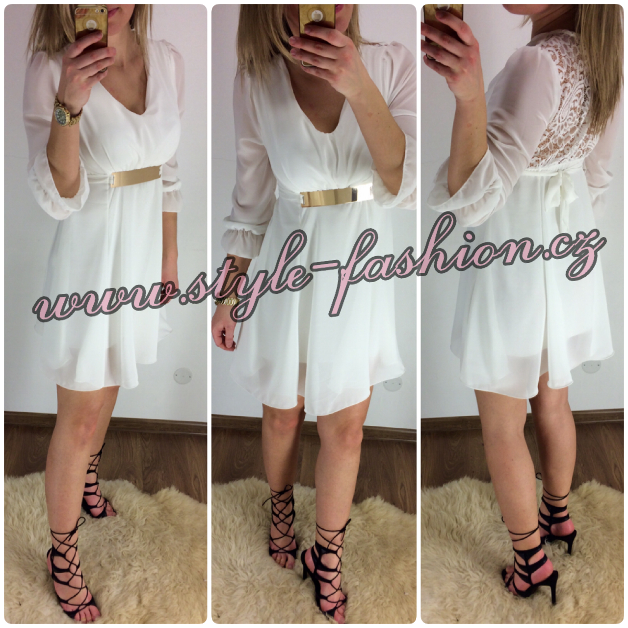 Krásné šifónové šaty s páskem a krajkou Jenny white 219951a043