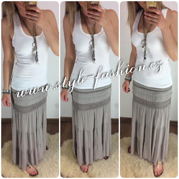 367c0bb110d Krásná trendy maxi sukně s krajkou