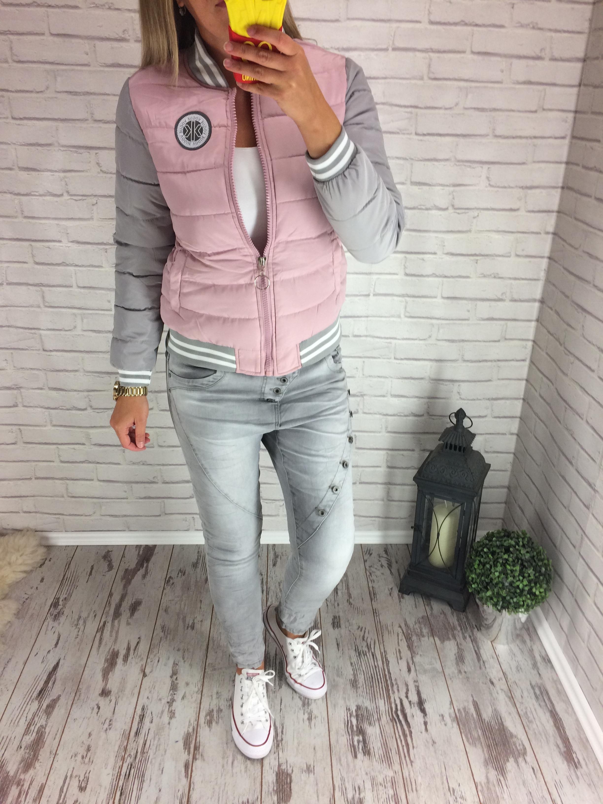 66dee6e2bc1 Krásná bomber podzimní - zimní bunda pink-grey