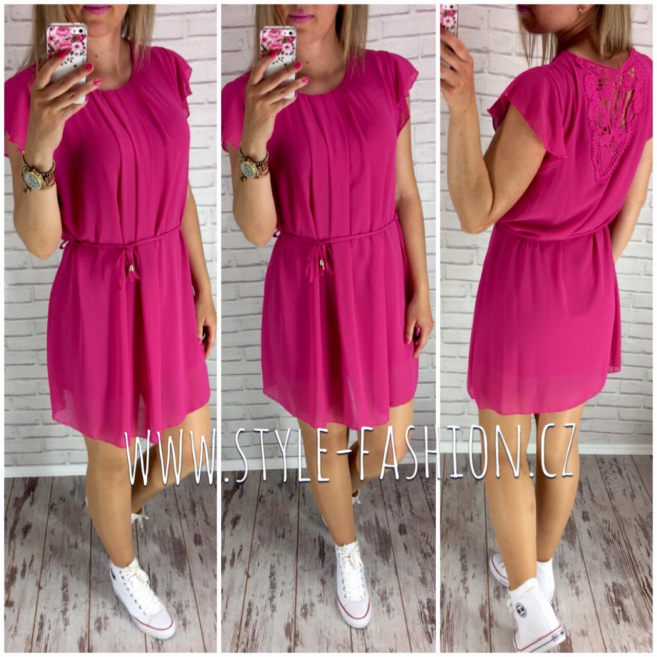 Šifonové šaty s krajkou na zádech fuchsia e37f7c2282