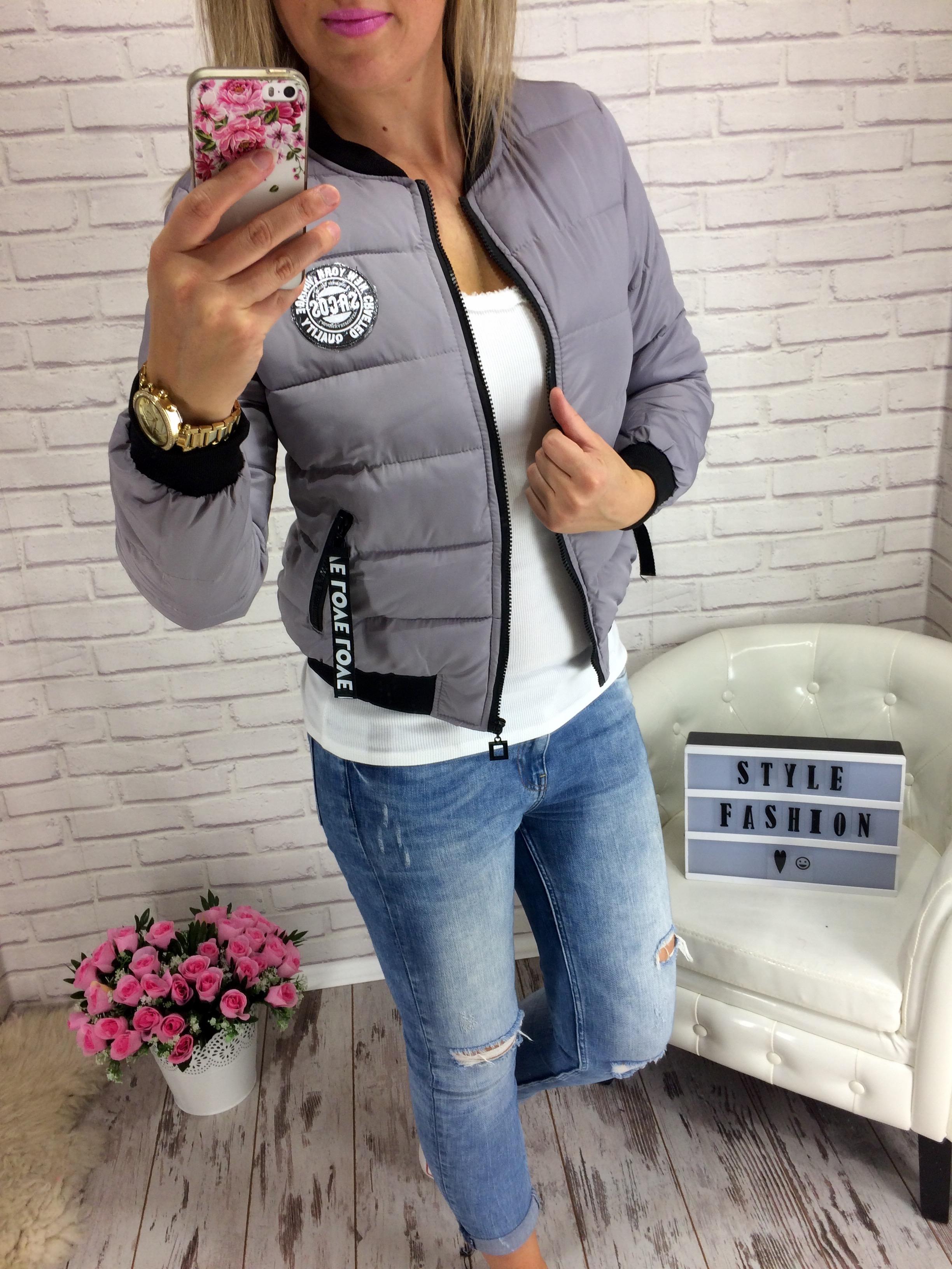 dbc9310bacc Krásná bomber podzimní - zimní bunda šedá