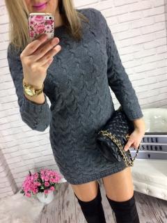 089ec8765e5e Svetrové šaty či svetr s prodlouženou délkou Amelia tm. šedý empty